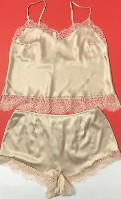 New Victoria Secret  Satin Cami and  Short Set Nightwear.Color Beige.size Large