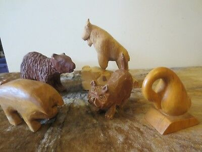 5 hand carved wooden animals