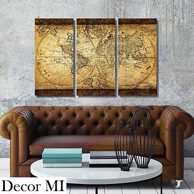 Framed Vintage World Map Canvas Art Picture Prints Wall Home Office Decor  New
