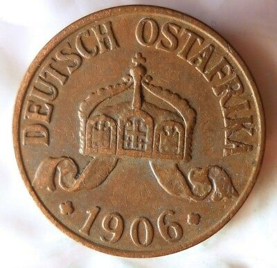 1906 J GERMAN EAST AFRICA HELLER - AU - Rare Colonial Coin - Lot #A18