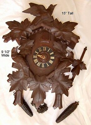 Large Vintage German Cuckoo Clock See Description & Pics. May Work? Repair