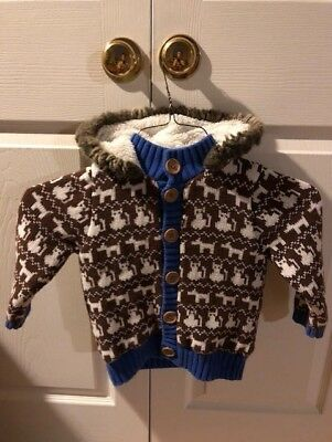 Hanna Andersson Coat Sweater Jacket Sz 90 with Hood