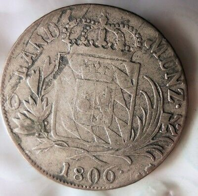 1806 GERMAN STATES (BAVARIA) 6 KREUZER - Excellent Rare Silver Coin - Lot #A18