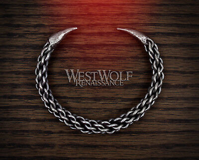 Hand-Forged Braided Steel Claw Torc Bracelet --- Celtic/Viking/Norse/Roman/Conan