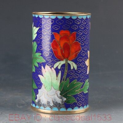 Chinese Cloisonne Handwork Carved Flower Brush Pot MY0263