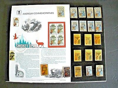 Smokey Bear U.S.1984 Postage Stamp Pins ---Framed Collection of 22, Unique!