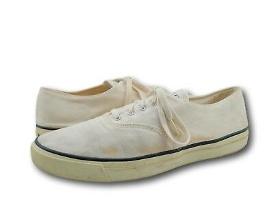 Vintage SPERRY TOP-SIDER Natural Canvas Boating Boat Deck Shoes Sneakers Sz 10.5
