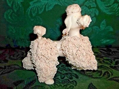 "Vintage Japan Pink Spaghetti Poodle Figurine 4""tall 5""long No Chips No Cracks"