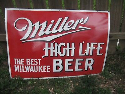 "Large Miller High Life Porcelain Beer Sign 48"" x 33"""