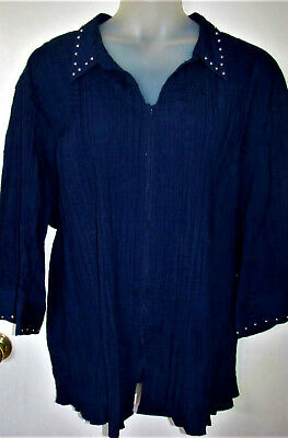 NWT Navy LIZ & ME Expandable Pleat Zip Embellished Shirt Bouse Top 5X  34/36