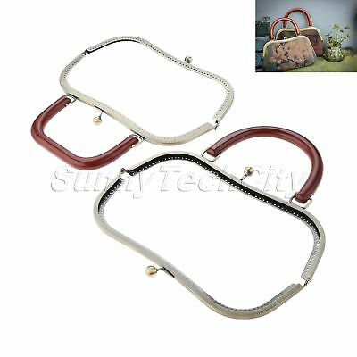 27CM Bronze Metal Frame Kiss Clasp Solid Wood For Handle Bag Purse DIY