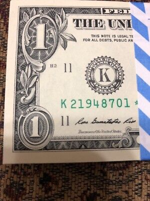 ONE (1) ✯ STAR NOTE $1 Dollar Bill SEQUENTIAL UNCIRCULATED CRISP from BEP PACK