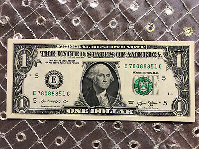 """REPEATER """"8"""" $1 NOTE with LUCKY """"888"""" on ALL BILLS UNCIRCULATED CRISP"""