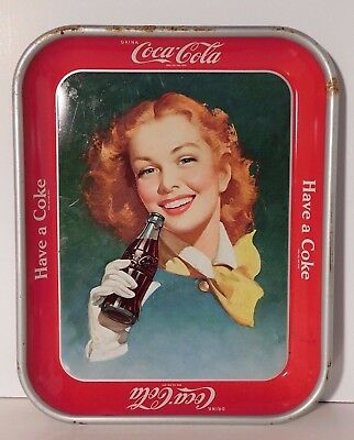 """Vtg. Coca Cola Girl with Red Hair Serving Tray """"Have A Coke"""" 1948-50's"""
