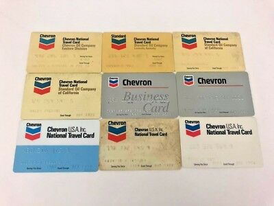 Lot of 9 Vintage Gas Oil Credit Charge Cards Chevron Standard Oil Company N11