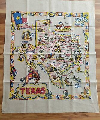 Vtg Texas Map Tablecloth Novelty Souvenir 1950's Western Brand Horse Alamo Rodeo