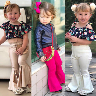 Baby Girls Kids Stretchy Flare Wide Leg Pants Bell Bottom Toddler Baby Trousers