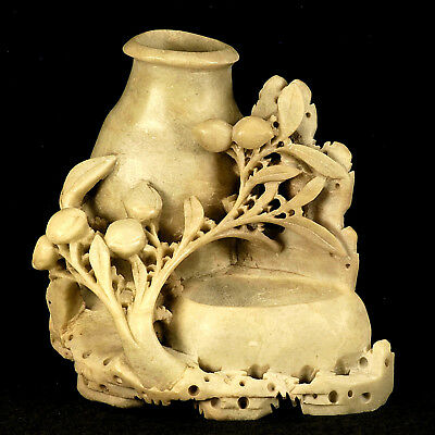 Vintage Chinese Carved Soapstone Brush Pot
