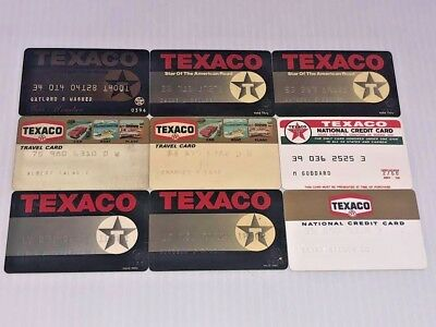 Lot of 9 Vintage Gas Oil Credit Charge Cards TEXACO G11