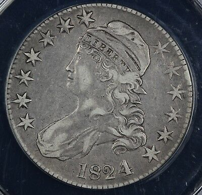1824 50c Capped Bust Half Dollar ANACS EF 45 DETAILS CLEANED SCRATCHED