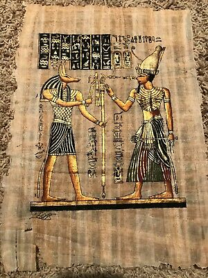 Hand Painted Egyptian Art On Papyrus, 8 X 12 Black And Gold