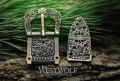 Viking Belt Buckle and Strap End Set --- Norse/Scandinavian/Norway/Celtic/Knot