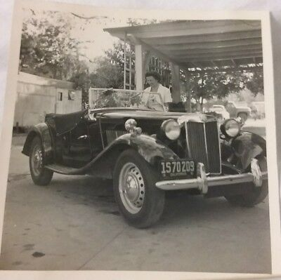 Vintage Old 1965 Photo of 1930s British MG Street Roadster Car Convertible