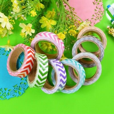 Fabric Chevron Adhesive Tape Masking Washi Paper Sticker DIY Sticky Decorative