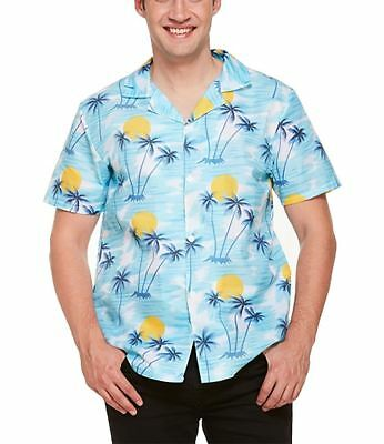 Adults Tropical Hawaiian Sunset Print Shirt Men Stag Party Fancy Dress Accessory