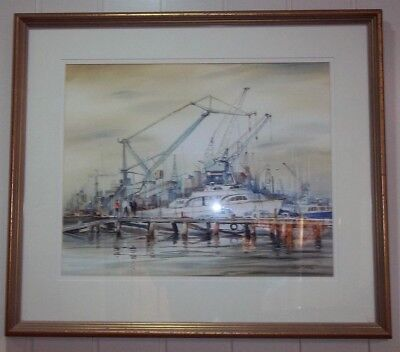 ' The Busy Pier ' , at Williamstown ,  by Listed Artist , Robert T Miller