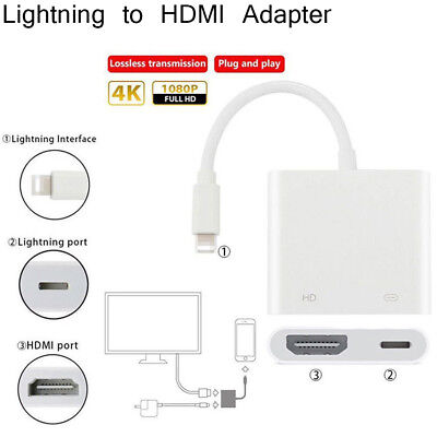 1080P Lightning To HDMI Digital AV TV Cable Adapter For iPad iPhone X 6 7