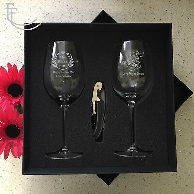 Personalised Mothers Day Wine Glass Set Engraved Gift Boxed Present Gift Mum Nan