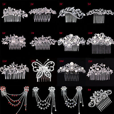 Women Flower Crystal Rhinestone Hairpin Bridal Wedding Hair Clip Comb Jewelry