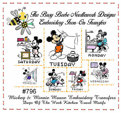 2f2ea7ce02c112 796 MICKEY & Minnie Mouse DOW Tea Towel Embroidery Transfer Pattern ...