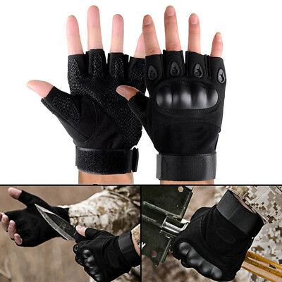 Knuckle Half Finger Gloves Paintball Tactical Fingerless Motorcycle Cycling UK
