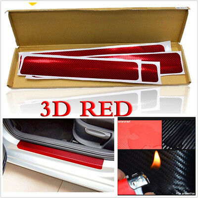 4pc Red Car Door Sill Scuff Welcome Pedal Protect 3D Carbon Fiber Grain Stickers