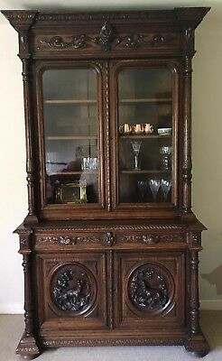 Huge antique 1800's country house French oak hunting cabinet/dresser/ bookcase