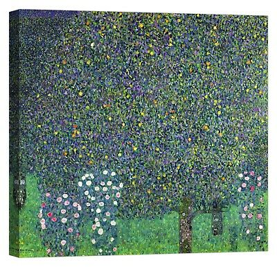 QUADRO GUSTAV KLIMT Roses under the Trees Stampa su tela Canvas effetto dipinto
