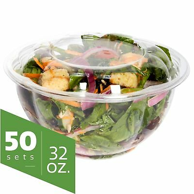 Salad Bowls to go with Lids (50 Pack) - Clear Plastic Disposable Salad Co... New