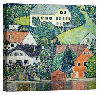 QUADRO GUSTAV KLIMT Houses at Unterach Stampa su tela Canvas effetto dipinto