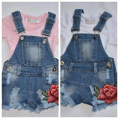 Baby Girl Summer Short Dungarees Pink - White Top outfit set 3 months to 4 years