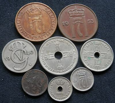Norway, A Collection Of 8 Different Type Vintage Coins 1940 - 1953