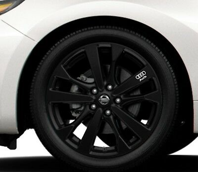 6x Alloy Wheels Stickers Fits Audi Logo Rings Graphics Vinyl Decals RD108