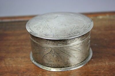19th C. Chinese 800 Silver 'Bamboo' Round Box And Cover