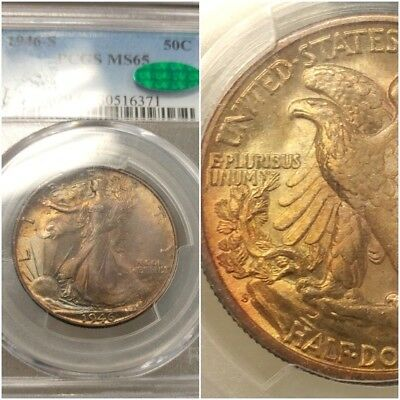 Pcgs Ms65 Cac 1946-S Rainbow Toned Walking Liberty Half Dollar! 2 Sided Colors!