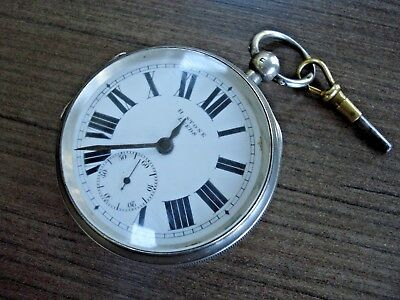 1902 Solid Silver H. STONE LEEDS Pocket Watch & Key