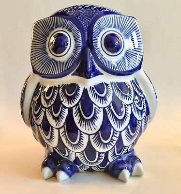 "LARGE PORCELAIN CERAMIC OWL Delft Style COBALT BLUE  AND WHITE 8"" Tall"