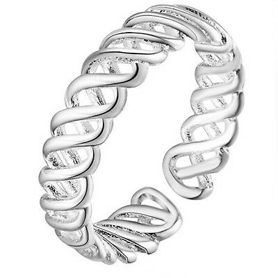 925 Stamped Sterling Silver Plt Adjustable Weave Style Ring / Thumb Ring UK R10