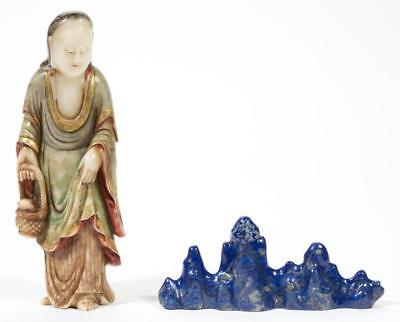 ASIAN CARVED LAPIS LAZULI BRUSH REST / STAND Lot 1066