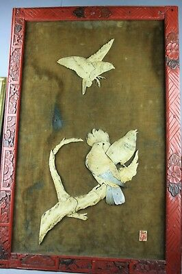 Chinese Style Carved Mother-of-Pearl Relief of Birds